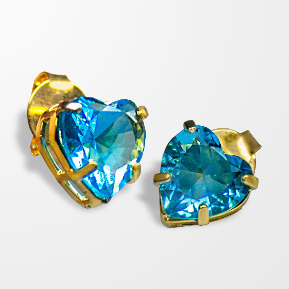 Brinco BRCORAÇÃO (PEDRA) azul