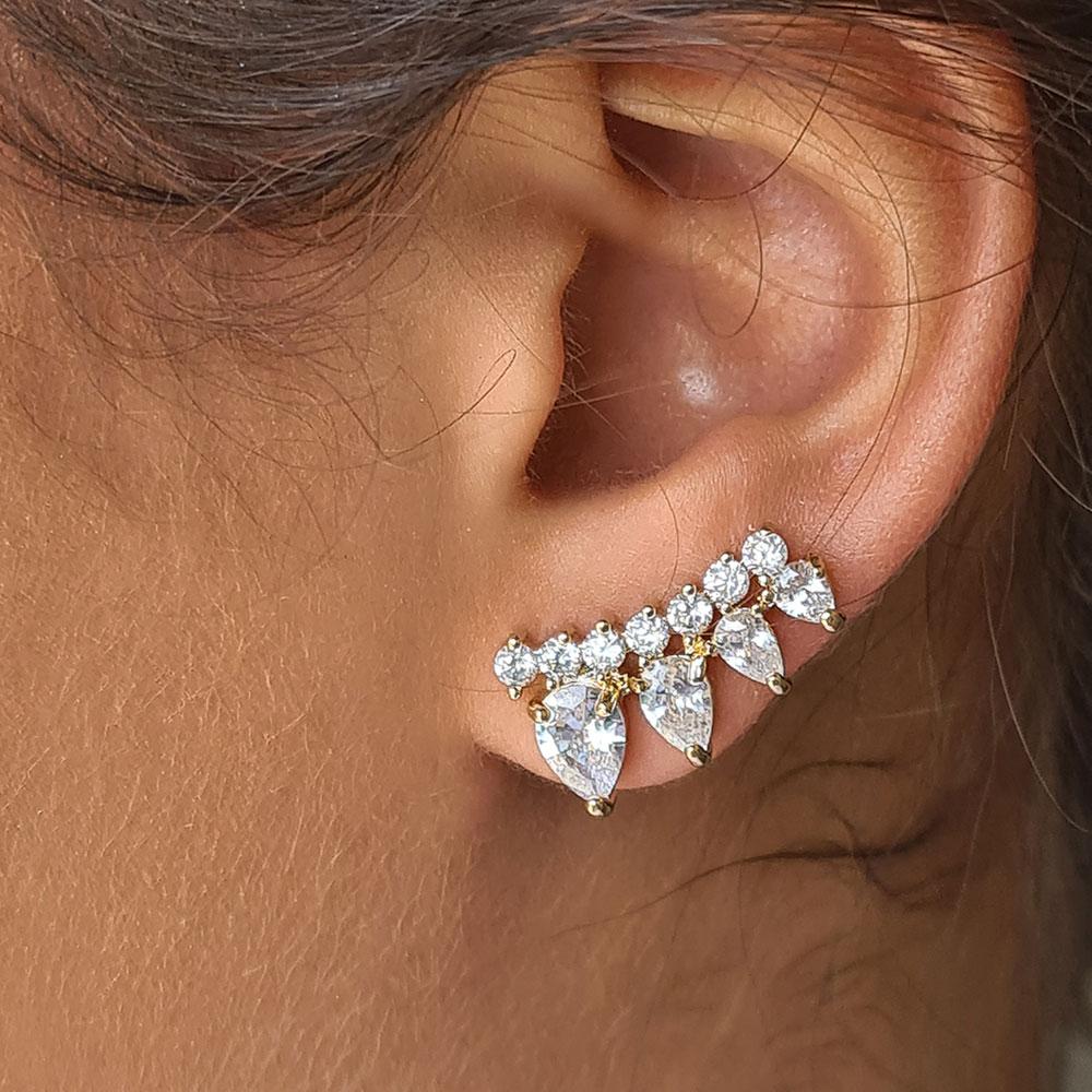 Brinco Ear Cuff com Gotas de Zircônia e Pontos de Luz