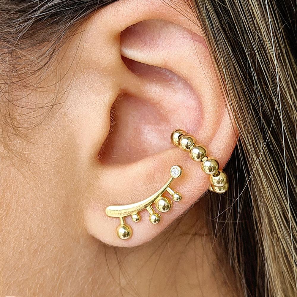 Brinco Ear Cuff Liso com Bolinhas e Zircônia