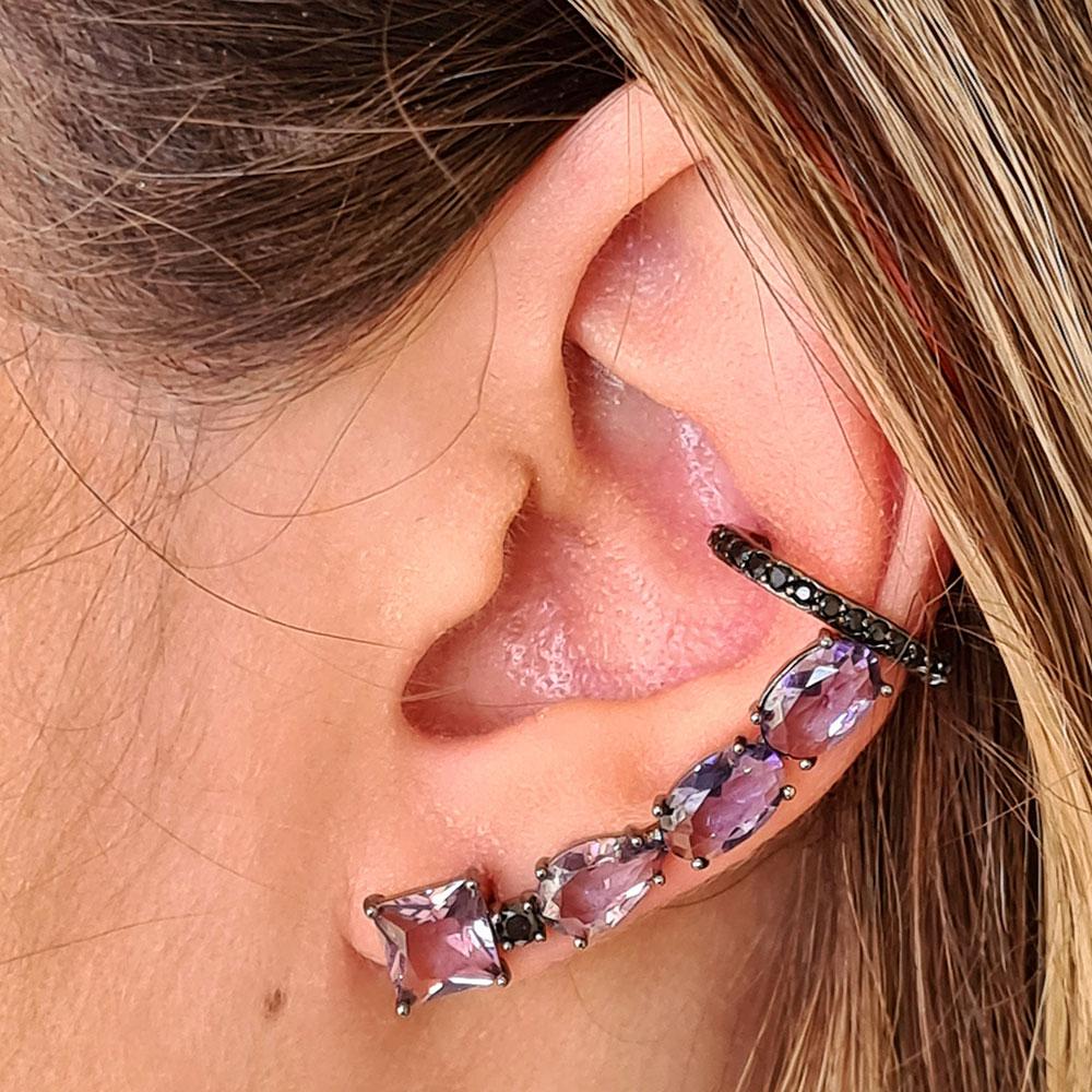 Brinco Ear Cuff com Pedras Lilás