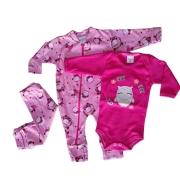 Conjuntinho de Bebê 3 Peças Coruja - Macacão com Zíper, Body e Mijão Tecido Suedine 100% Algodão Confortável