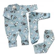 Conjuntinho Roupa de Bebê 3 Peças Fluffy Ursinho Azul - Macacão, Body e Mijão