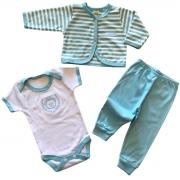 Conjuntinho Kit 3 Peças Puro Carinho Azul Bebê - Body, Mijão e Casaco