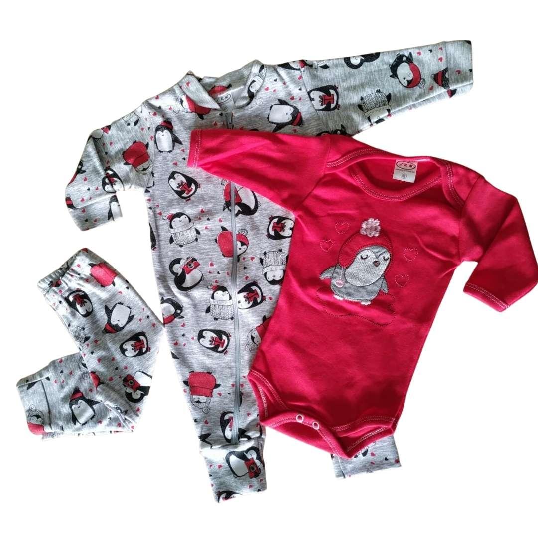 Conjuntinho de Bebê 3 Peças Dinossauro - Macacão com Zíper, Body e Mijão Tecido Suedine 100% Algodão Confortável