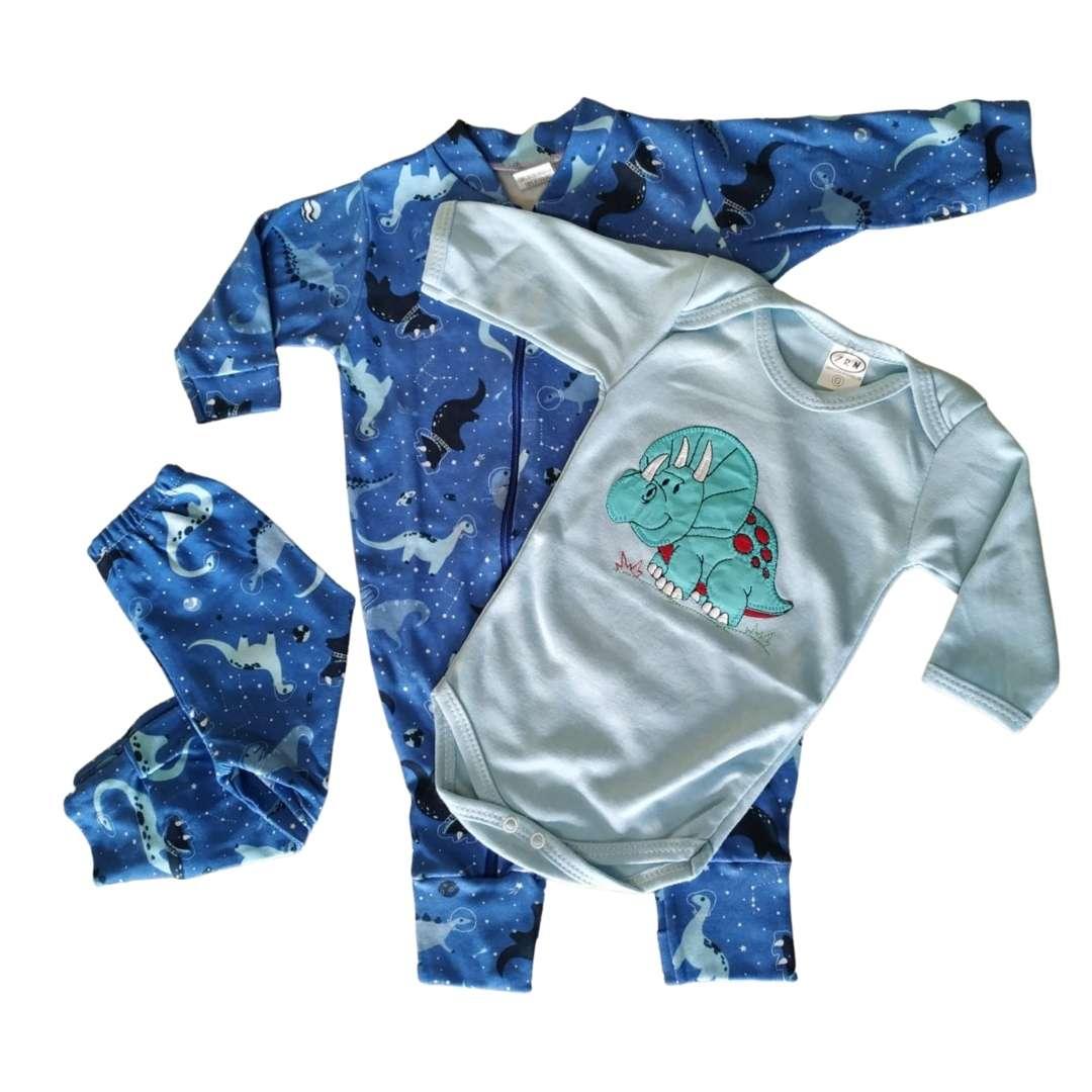 Conjuntinho de Bebê 3 Peças - Macacão com Zíper, Body e Mijão Tecido Suedine 100% Algodão Confortável