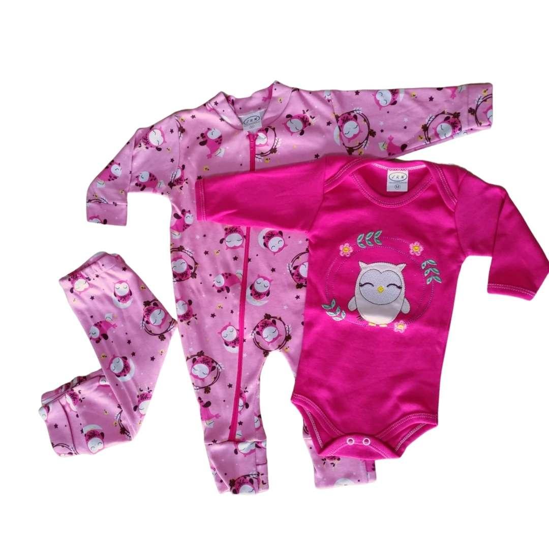 Conjuntinho de Bebê 3 Peças Urso - Macacão com Zíper, Body e Mijão Tecido Suedine 100% Algodão Confortável