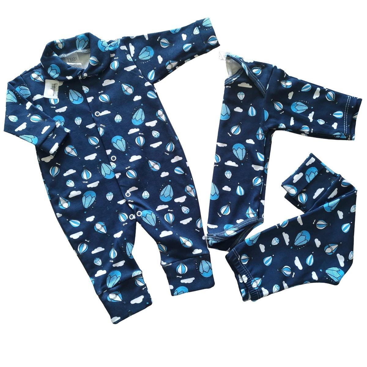 Conjuntinho Roupa de Bebê 3 Peças Fluffy Unicórnio- Macacão, Body e Mijão