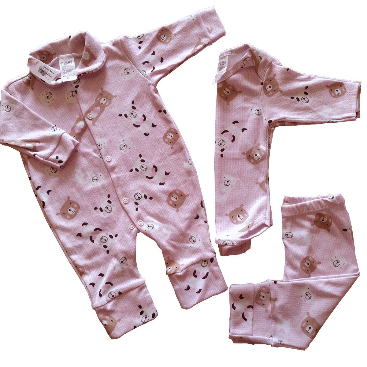 Conjuntinho Roupa de Bebê 3 Peças Fluffy - Macacão, Body e Mijão