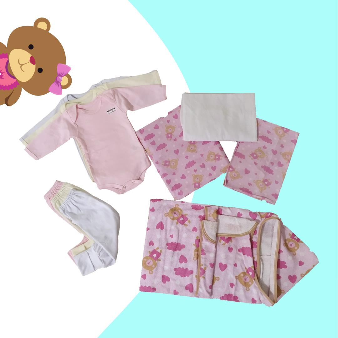 Kit Especial Enxoval Maternidade Completo - Lençol, Fronha, Manta, Toalha, Body e Mijão