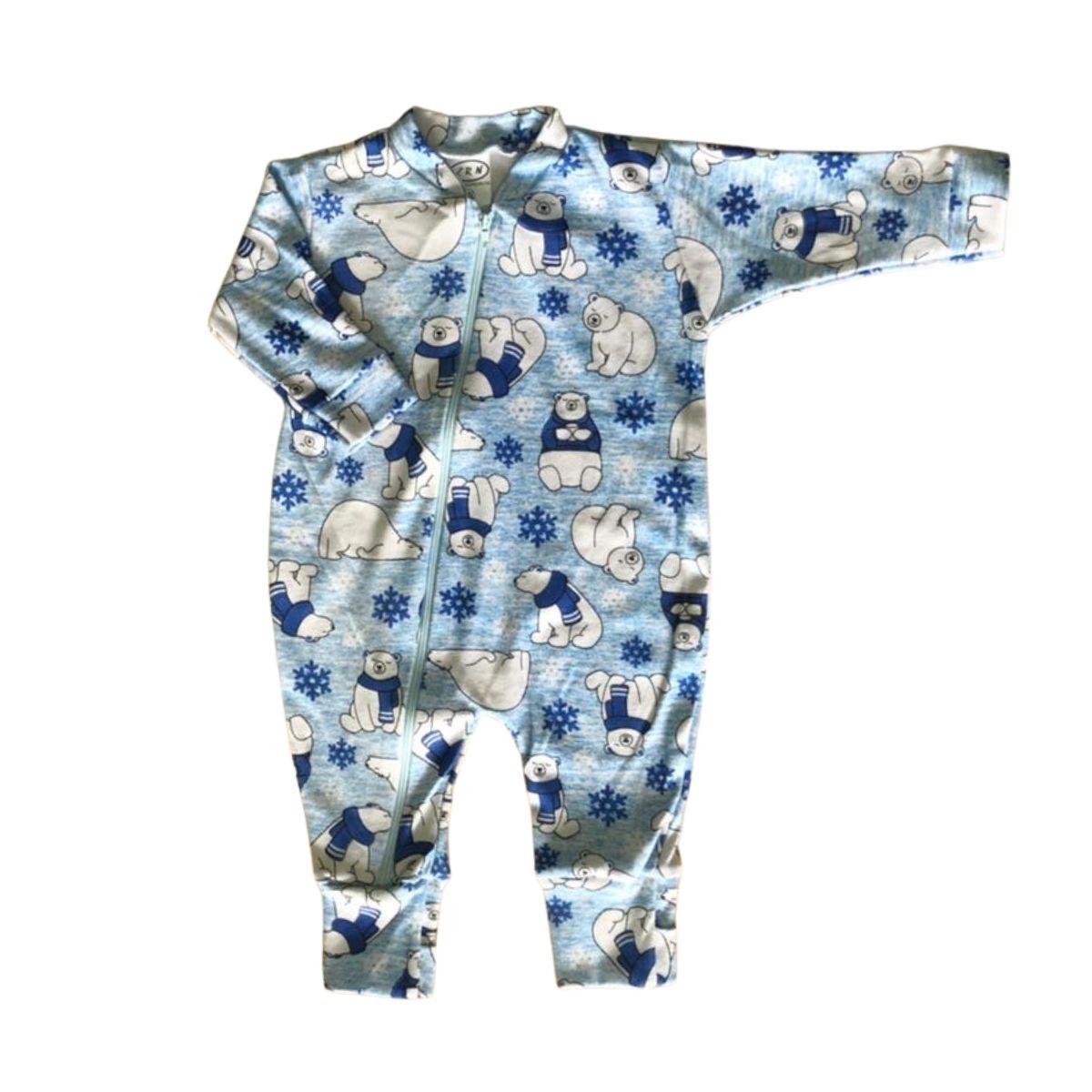 Macacão Urso Vira Pé Bebê Recém-Nascido Com Zíper - Tecido Suedine 100% Algodão