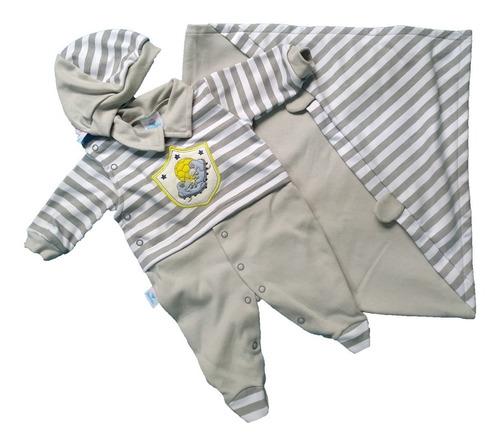 Saída Maternidade Menino 100% Algodão - Macacão com Boina e Manta com Capuz
