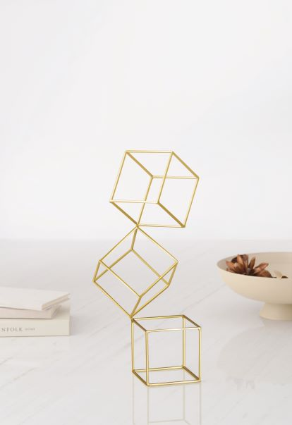 Escultura Quadrados Dourado Finchley Central