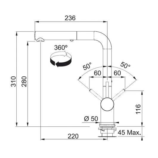 Misturador Monocomando Alto Brilho Franke Active Plus