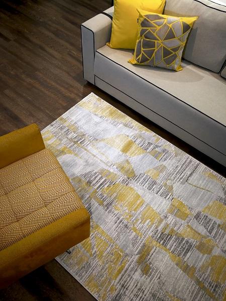 Tapete Greenford Cinza e Amarelo