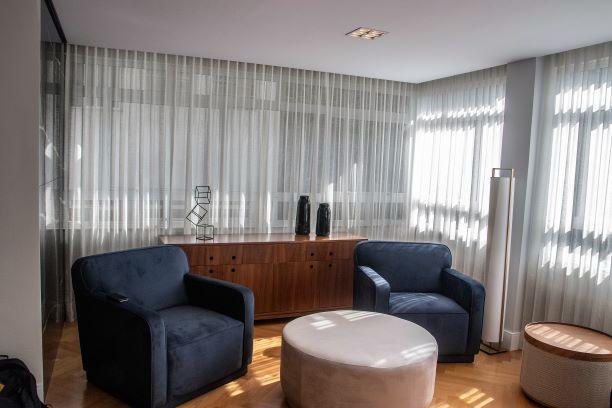 Tecido para cortina - Voil Cinza Escuro - Preço por rolo fechado (50 metros por 3 metros de altura)