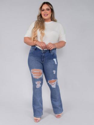 Calça Jeans Flare Plus Size Revanche