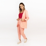 Blazer Sem Lapela Color - Rosa Claro