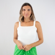 Regata Recorte Quadrado FruFru - Branco