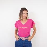 T-Shirt Viscolycra Gola V - Mademoiselle - Pink