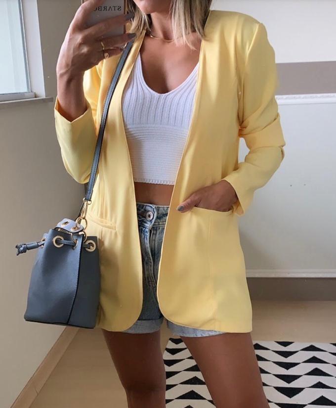 Blazer Sem Lapela Color - Amarelo