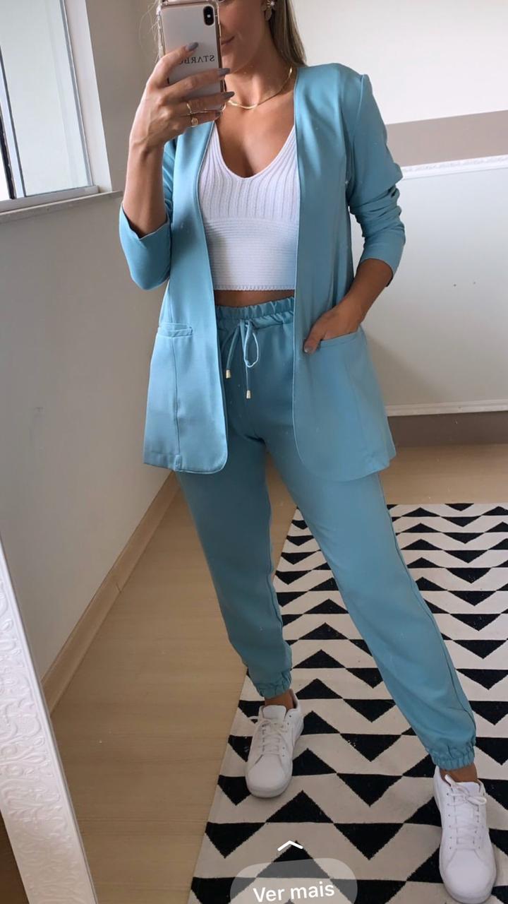Blazer Sem Lapela Color - Azul Claro