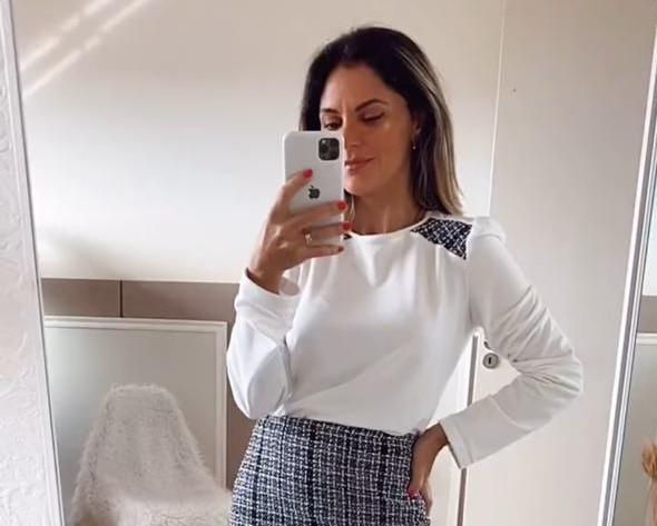 Blusa Básica Recorte Tweed- Branco
