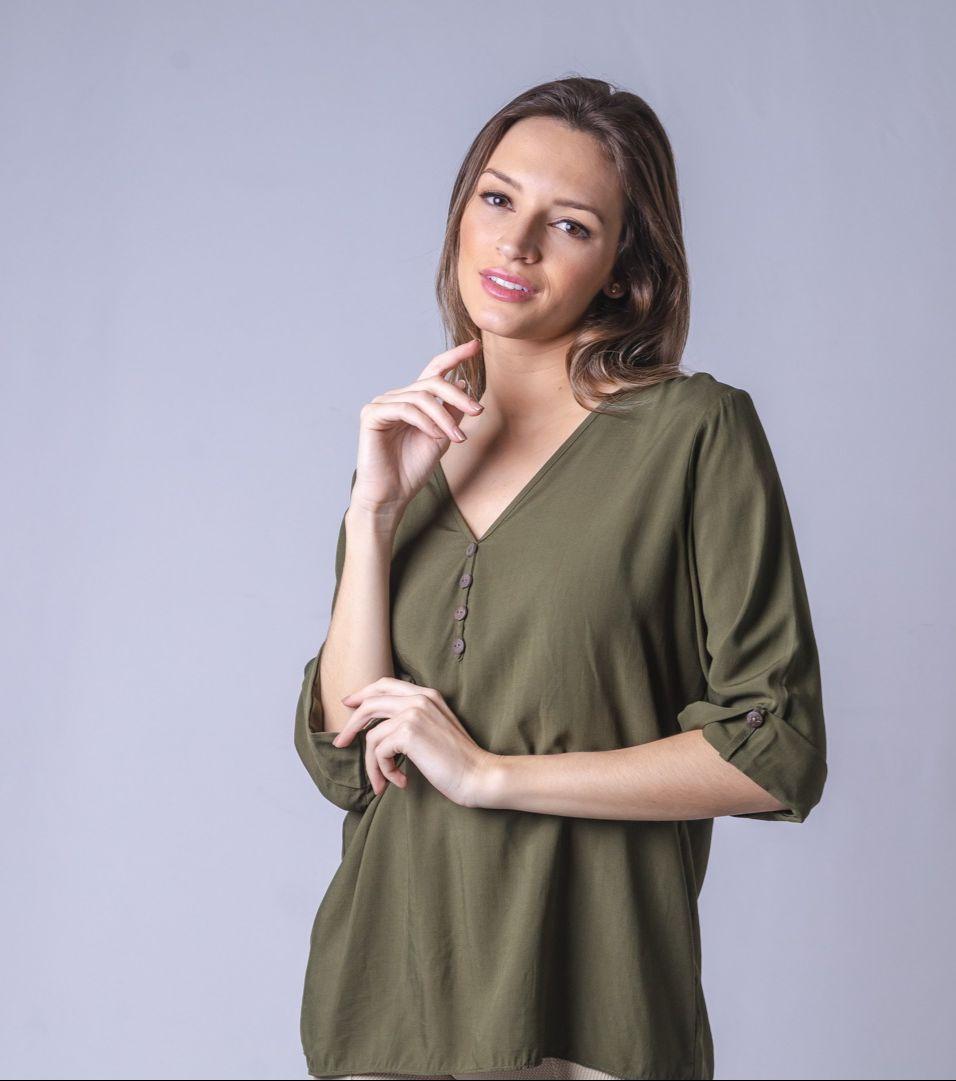 Blusa Bata Com Botão - Verde Militar