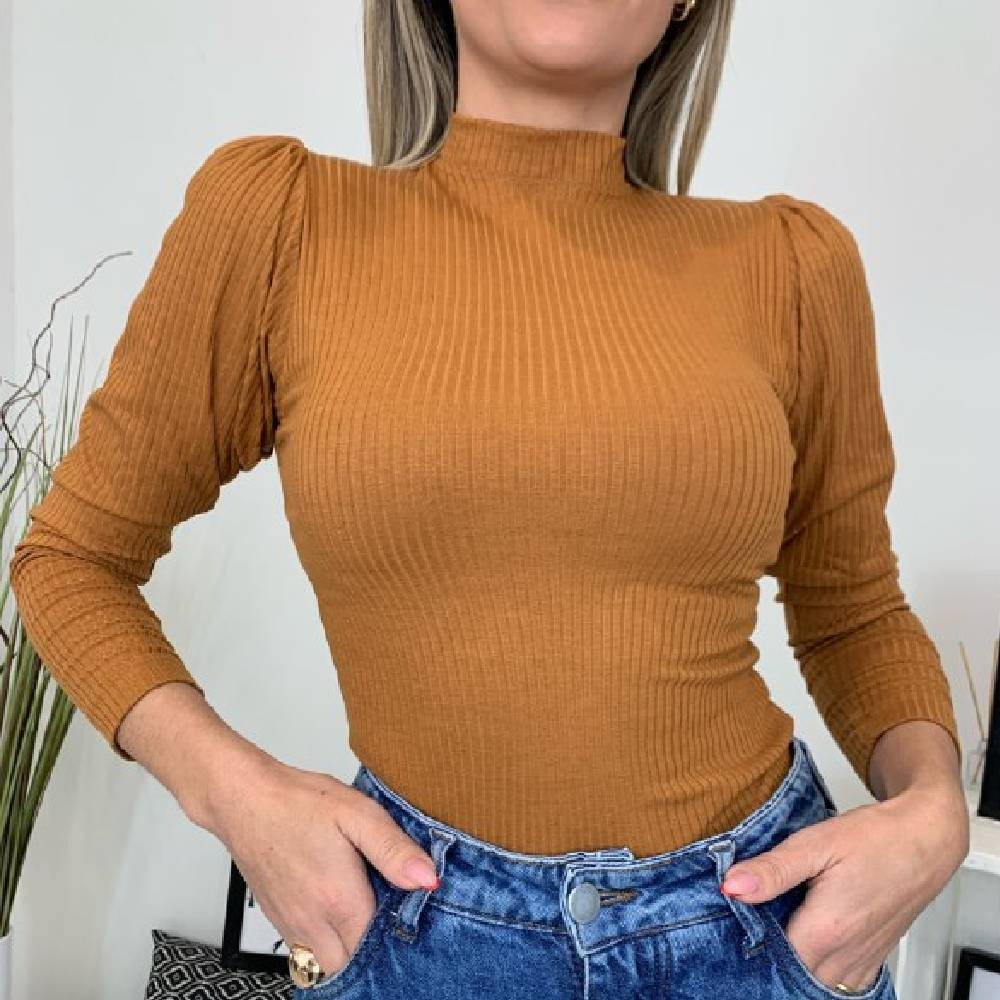 Blusa Canelada Drapeada - Caramelo