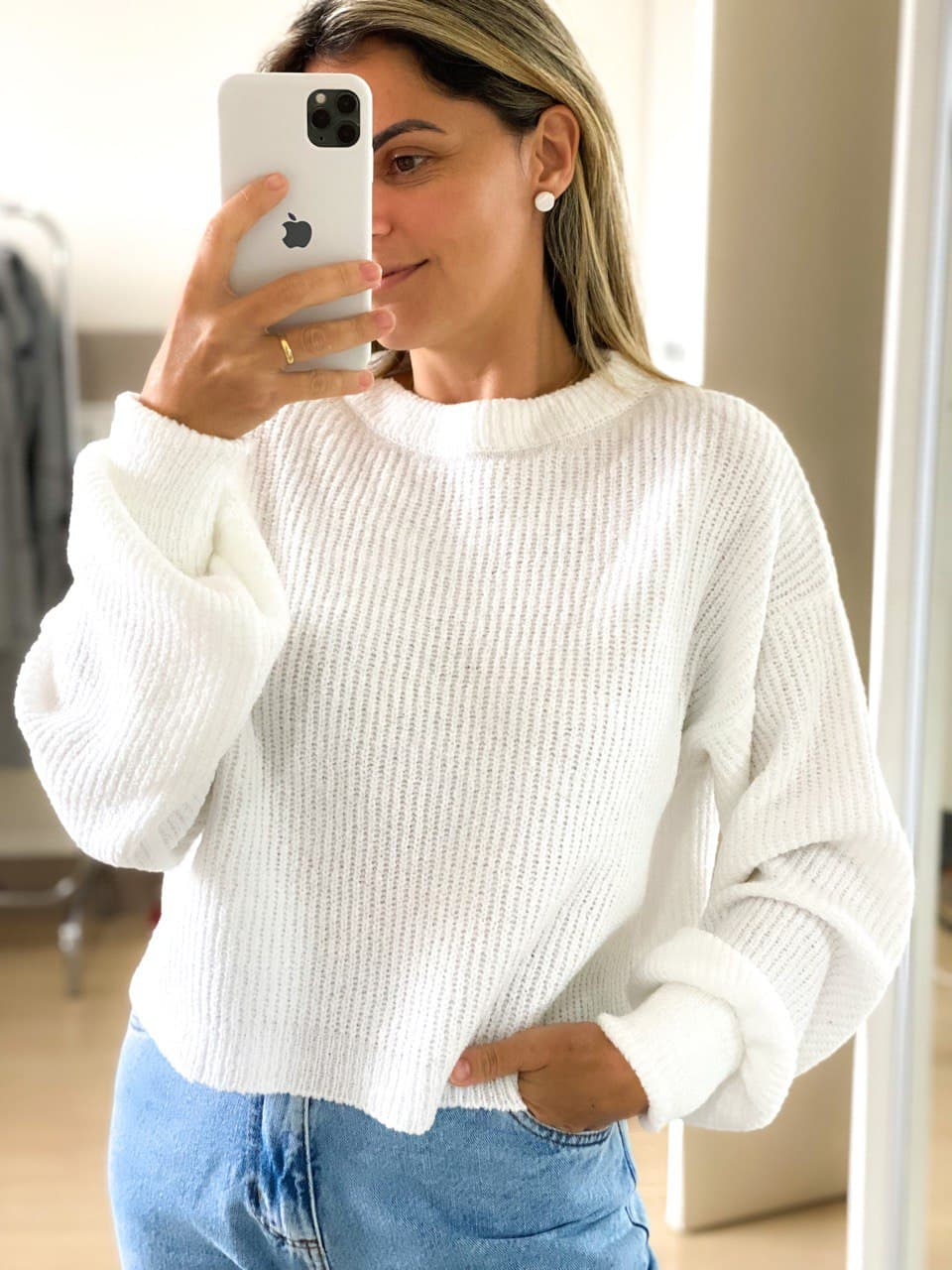 Blusa Cropped Tricot - Off