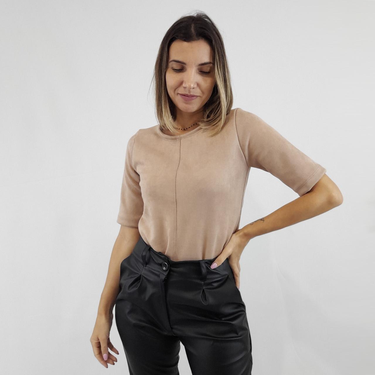 Blusa Minimal Suede - Bege