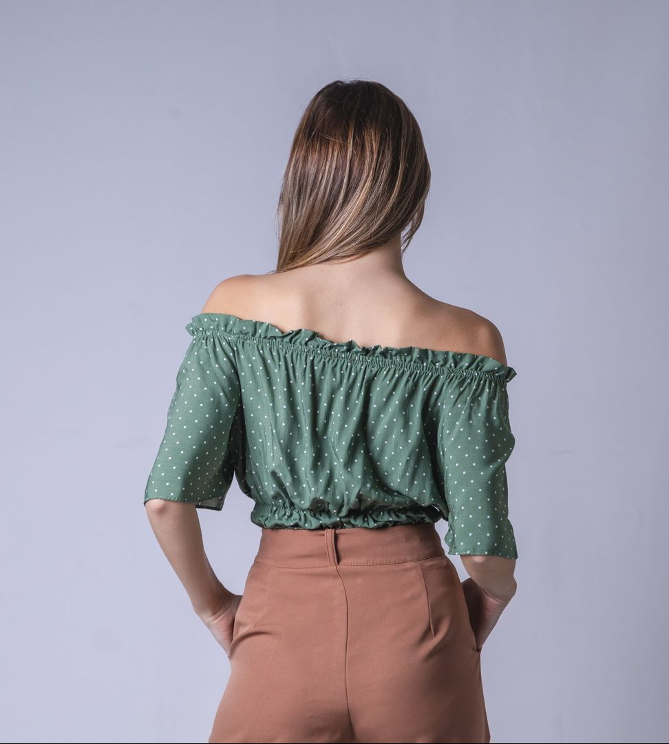 Blusa Tecido Lastex Corda Poá - Verde