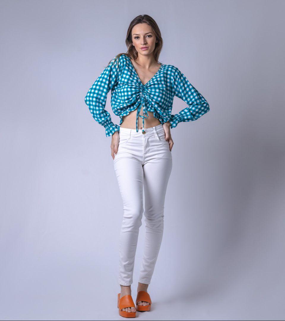Blusa Tecido Lastex Corda Xadrez M. Longa - Azul Petróleo