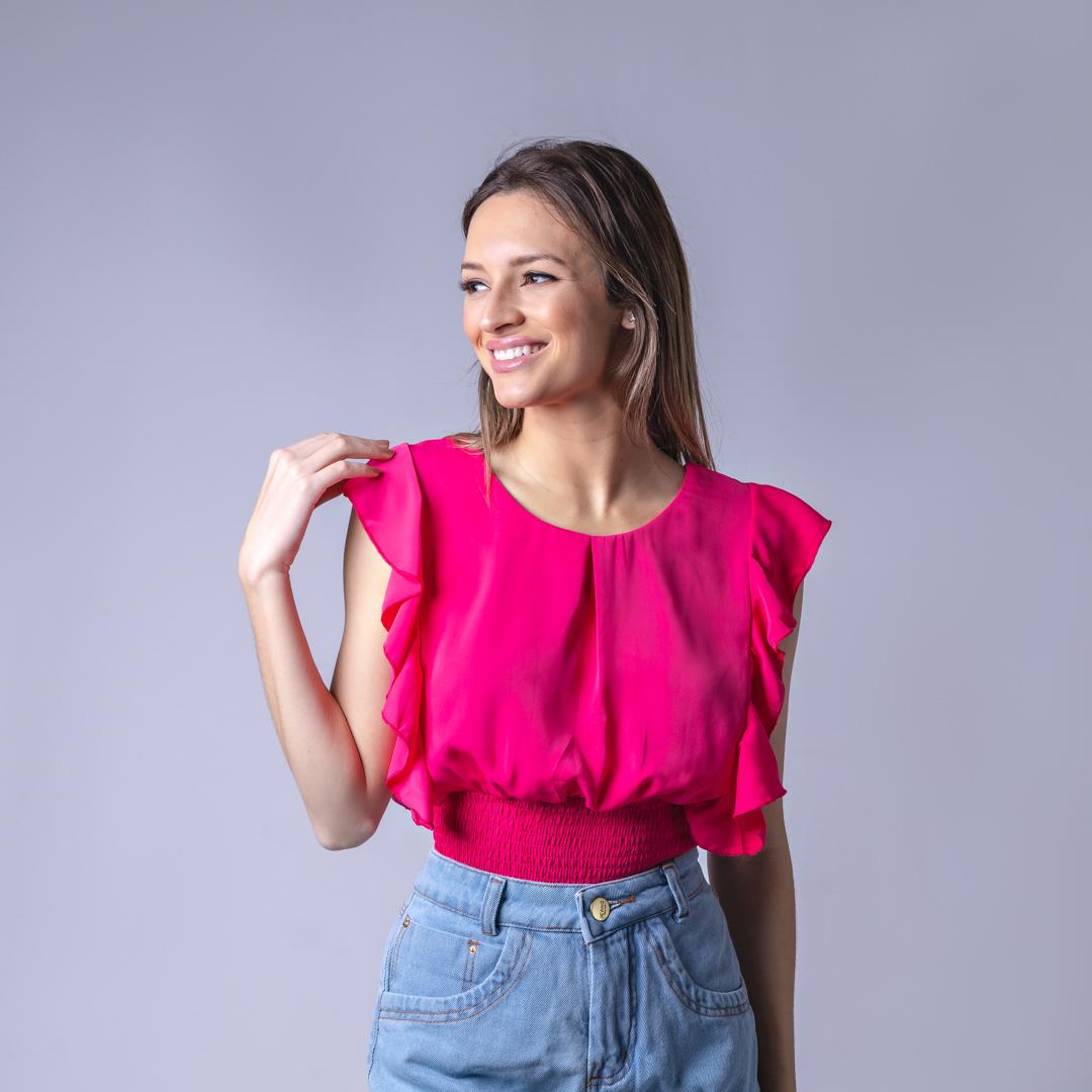 Blusa Tecido Lastex Lisa - Rosa Pink