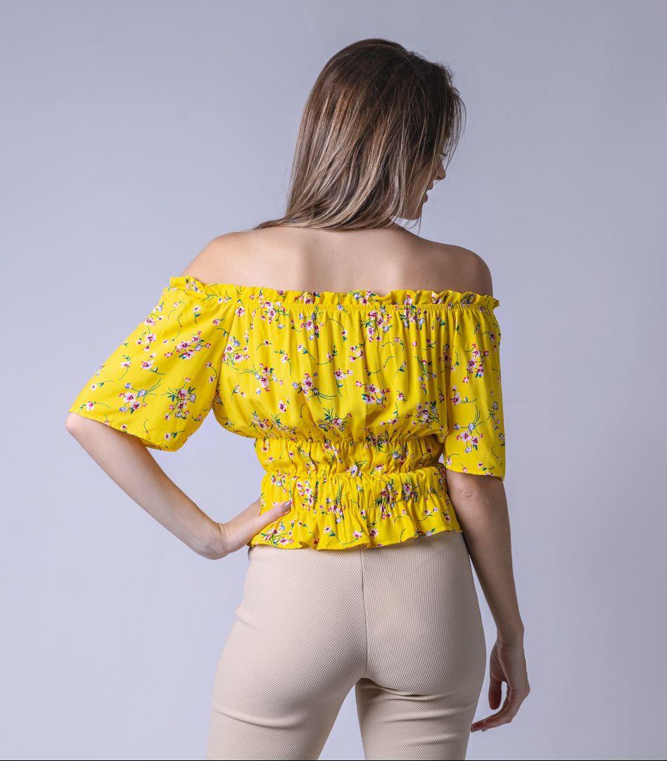 Blusa Tecido Lastex V Floral - Amarelo