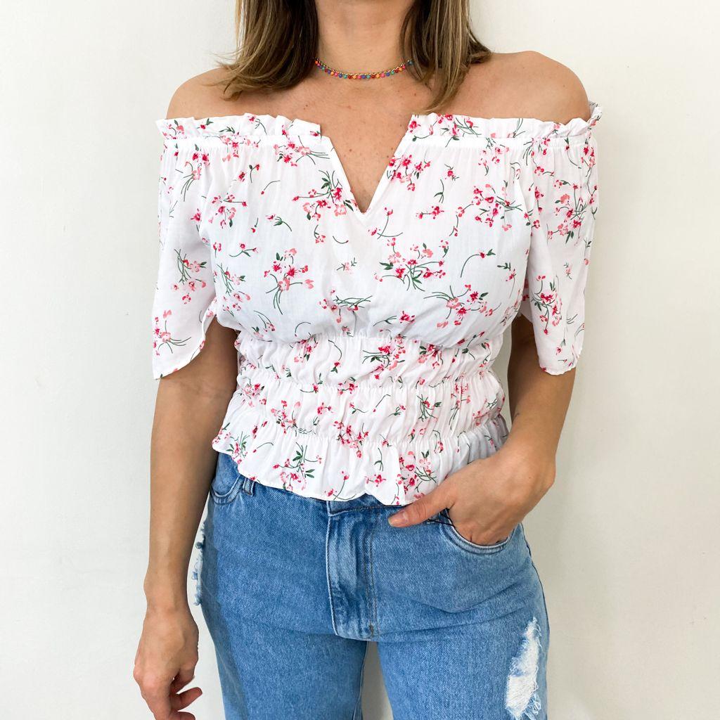 Blusa Tecido Lastex V Floral - Branco