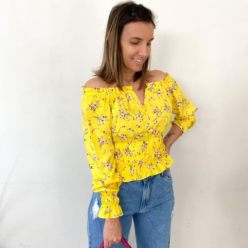 Blusa Tecido Lastex V Floral M. Longa - Amarela