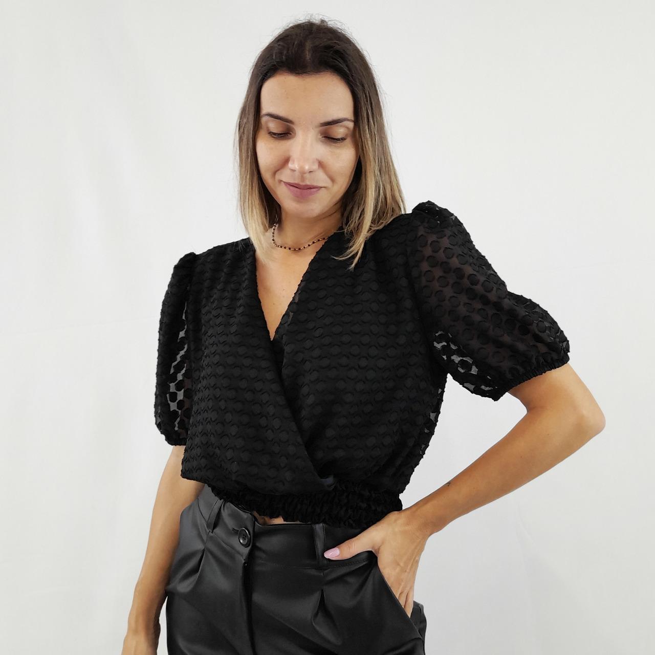 Blusa Transpassada - Preta Póa