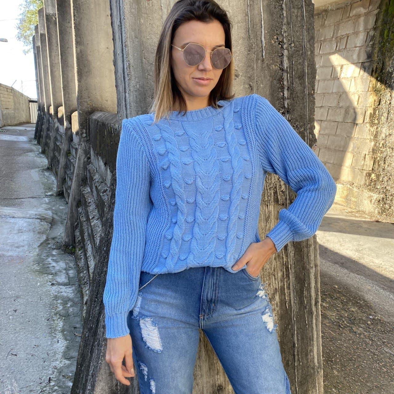 Blusa Tricot Bolinhas - Azul