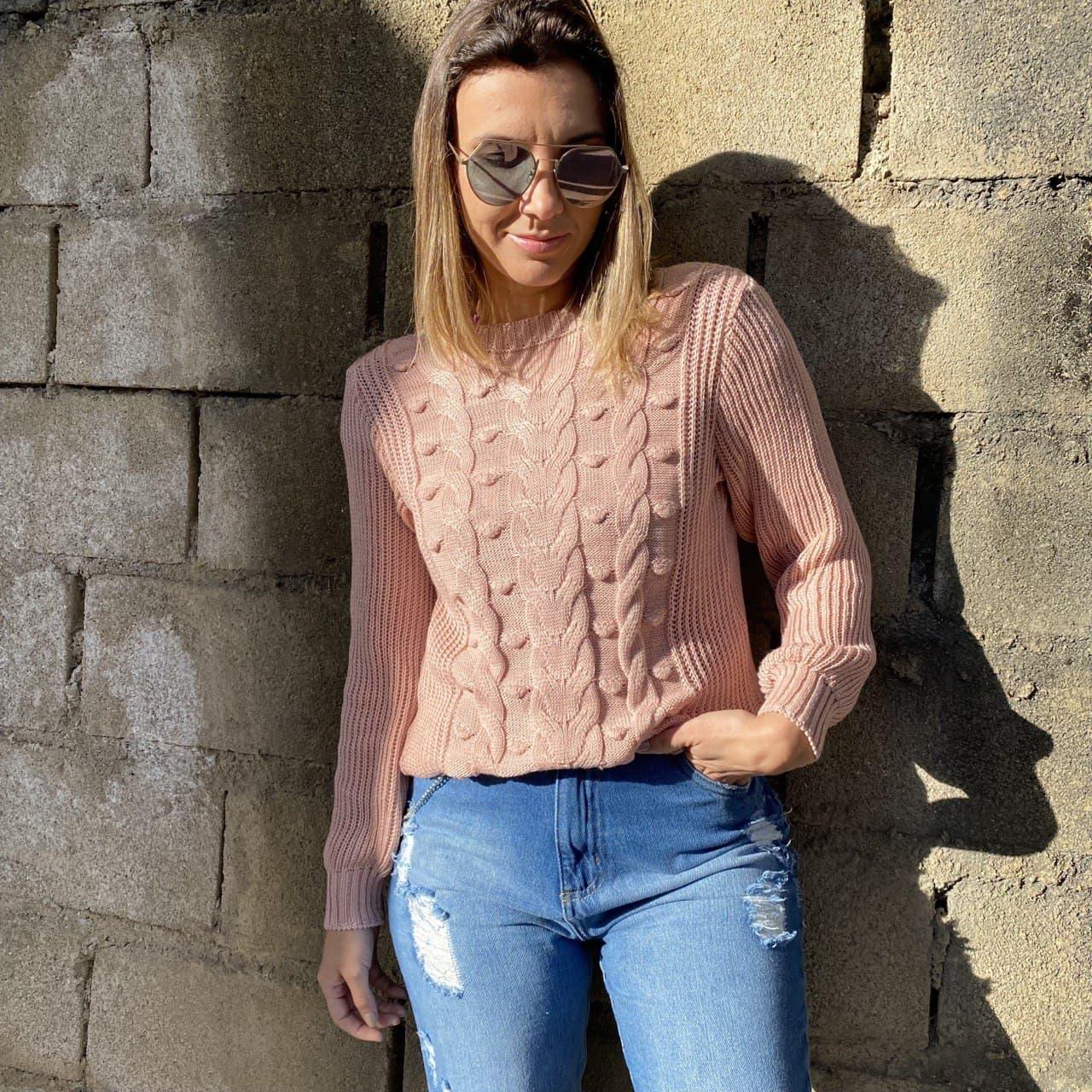 Blusa Tricot Bolinhas - Rosa Claro