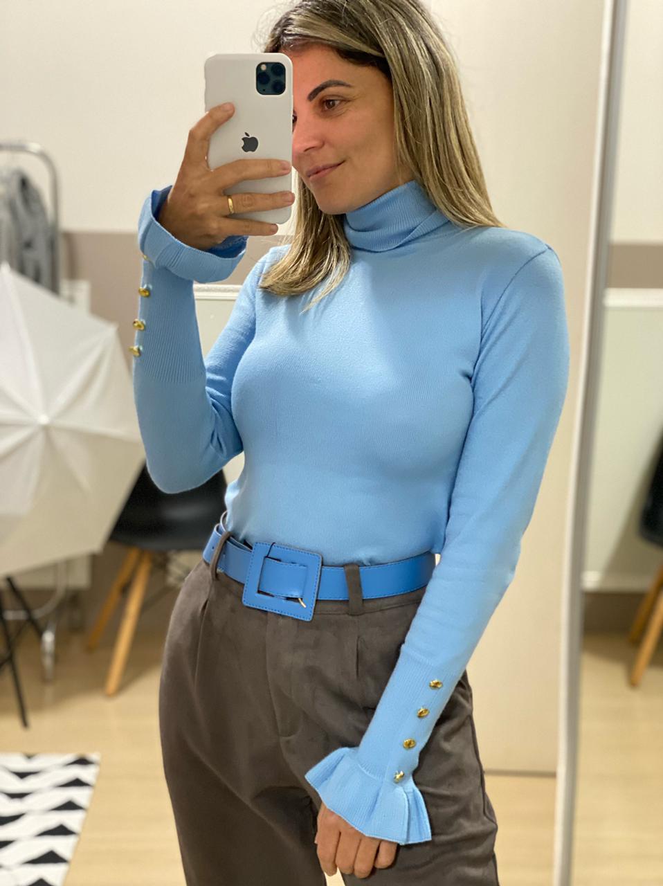 Blusa Tricot Botão Punho - Azul