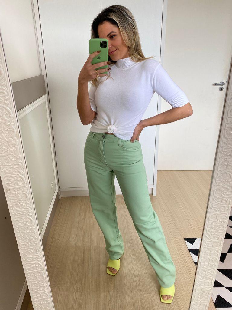 Calça Jeans Wide Leg - Verde
