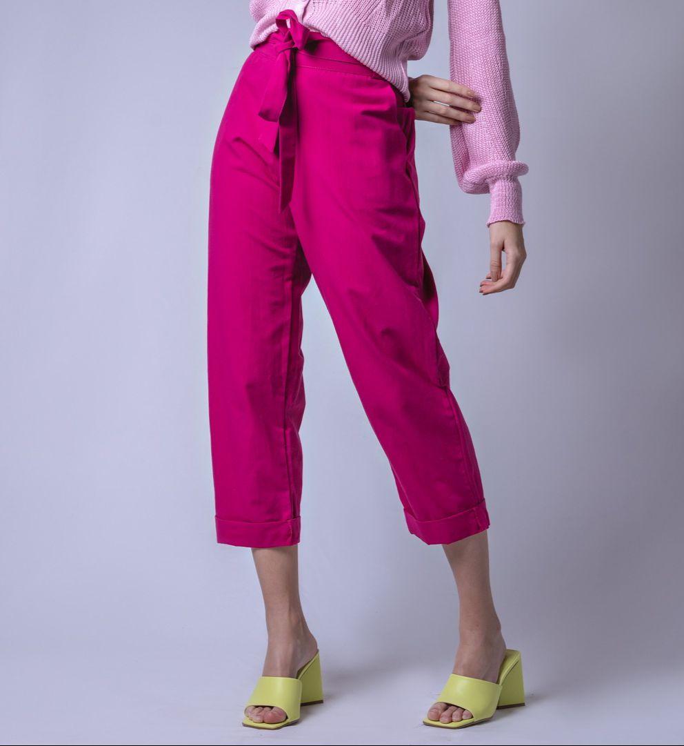 Calça Tecido Linho Laço - Rosa Pink