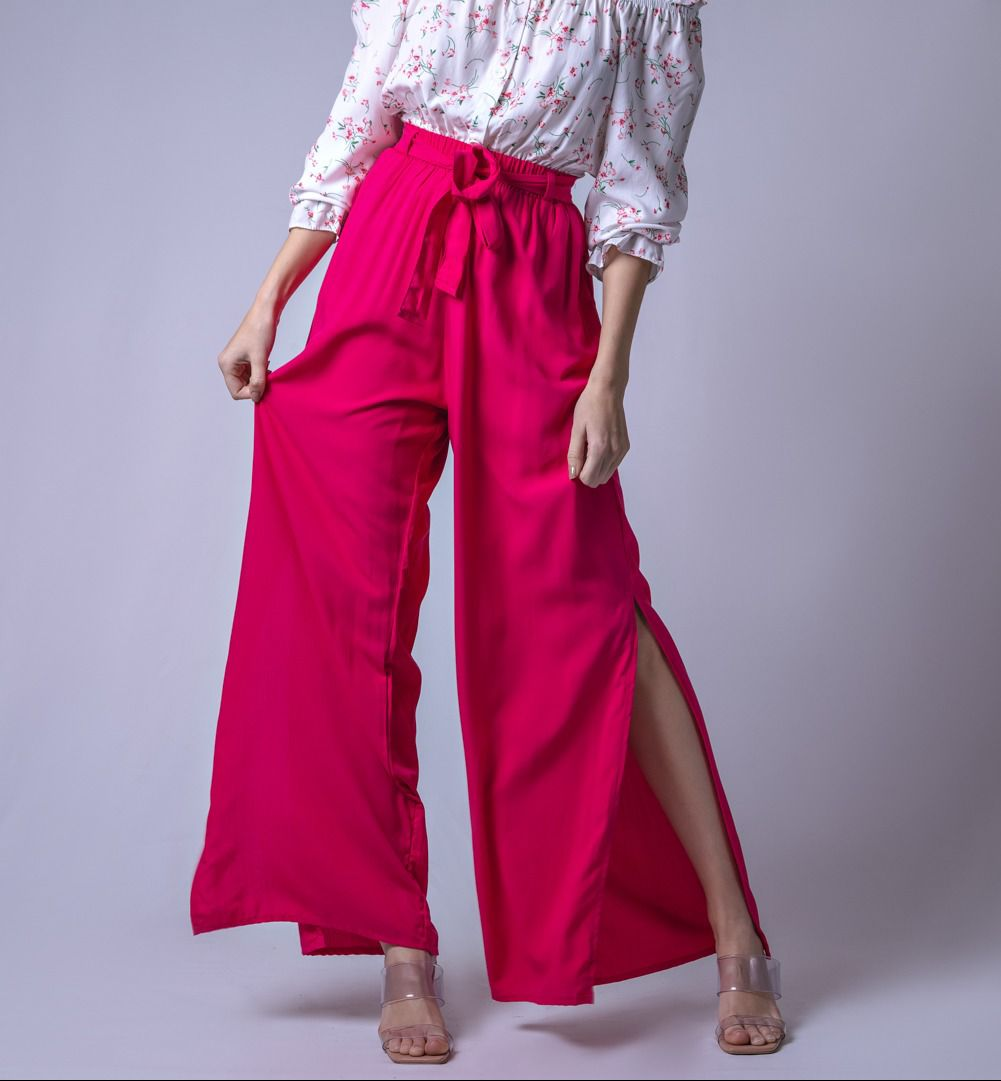 Calça Tecido Pantalona Fenda - Rosa Pink