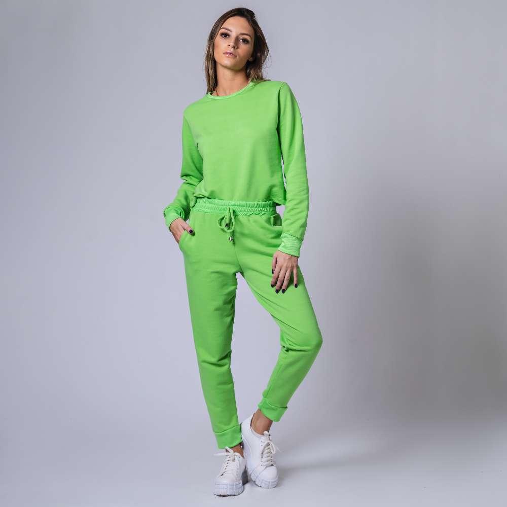 Conjunto Moletom com Ribana - Verde Neon