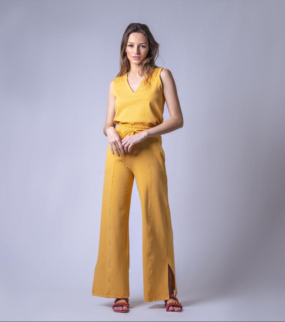 Conjunto Moletom Wide Leg - Amarelo Queimado