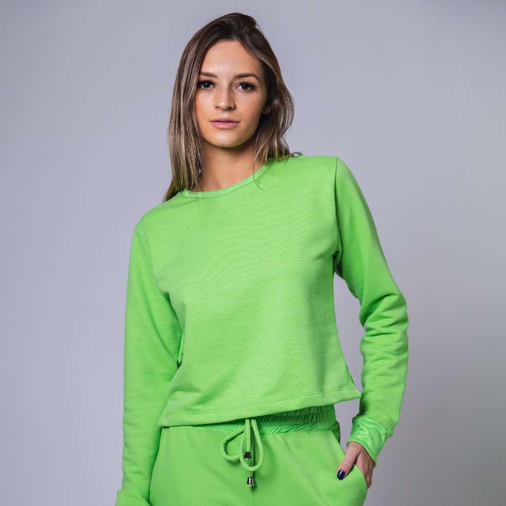 Conjunto Moletom com Ribana - Verde