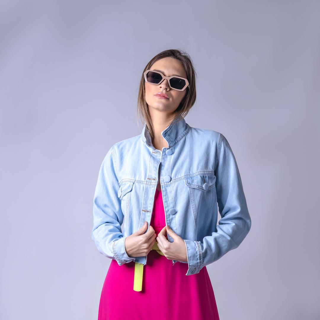 Jaqueta Jeans Botão Forrado - Azul Claro