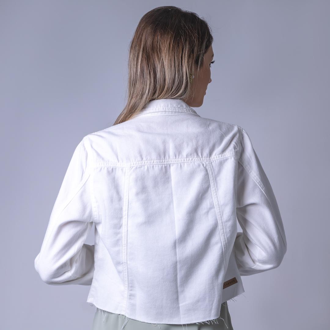 Jaqueta Jeans Botão Forrado - Branco