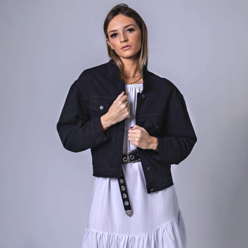 Jaqueta Jeans Mom - Preta