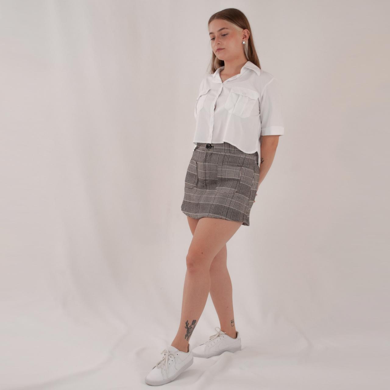 Short Saia Xadrez - Preta